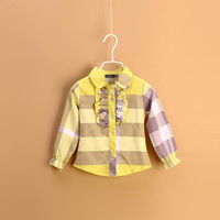 Hotsale 5pcs/lot four color spring cotton long sleeve girls shirts, kids shirts, good quality