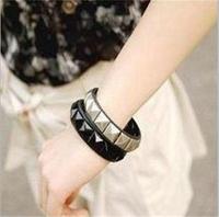 2014 European Style Square Leather Rivet Punk Fashion Personality Bracelet Wholesale 24pcs/lot