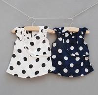 Newest Baby girls kids polk dot frill sleeveless tops summer outwear