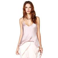 Silky chiffon light purple double layer deep V-neck spaghetti strap tops women's summer camis
