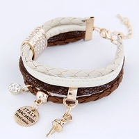 New Arrival Exquisite Handmade Angel Crystal Leather Multilayer Charm Bracelet Fashion Women Jewelry Accessories Wholesale