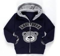 2014 baby-boy long sleeve bear hoodded top clothes spring&autumn dark blue blouse