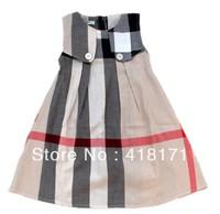 In Stock! Wholesale Classical England Style Girls Plaid Dress Summer Sleeveless Tank Dress Kids Cotton Dress 5Colors