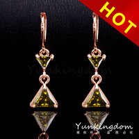 2014  Mixed Order Free shipping 18K Rose Gold Filled Cubic zirconia romantic Lady long Earrings earpins Dangler Jewelry CZ0422