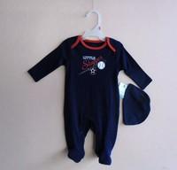 2014 Newbron Infant Toddler baby baseball print rompers autumn jumpsuit 2 pc set