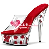 2014 women's shoes hot-selling red rose crystal shoes 15cm 20 ultra high heels sandals