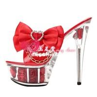 2013 sandals red rose wedding shoes platform crystal shoes 15cm ultra high heels sandals bridal shoes