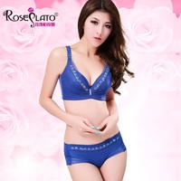 Rose sexy bra underwear deep V-neck adjustable push up bra set