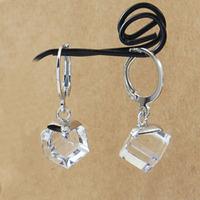 simulated diamond  drop earrings  0.8cm big cubic square  cubic zirconia 925 silver tone classic hoop BA-283 Neoglory Rihood