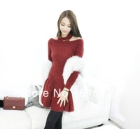 Fashion Women and girl 1 piece knit dress spring,summer,autumn,winter, clothing free shipping