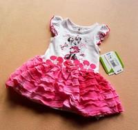 Newest Baby-girls cartoon  mouse flowers ruffle frill summer dress