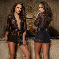 Plus Size Lace Sexy Dressing Gown Nightgown Nightwear Sleepwear Women Sex Underwear G-String Babydoll Free Shipping A3272