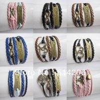Min. is 10$ Infinity one direction Charm Bracelet bronze charm bracelet Wax Cords and Korean Cashmere Braided