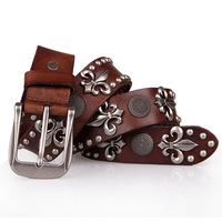 First layer of cowhide skull belt / High Grade Genuine Leather Rivet Punk Blet ,Men / femal / Unisex Belt