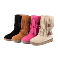 Free Shipping New Leather Like Women's Moccasin Fringe Tassel Mid-Calf   Flat Boots snow boots waterproof