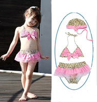 New 2014 good quality lovely girls swimwear Children swimwear kids swimwear  bikini top and pants with swim cap 1pieces/lot