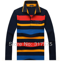 2014 New Fashion England style High Quality Brand Long Sleeve Polo Shirts Men's Casual striped Color Red Brown Free Shipping