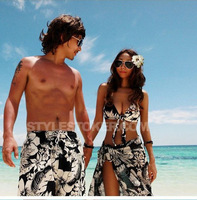 2014 New Arrival Beach Lovers Swimsuit Short Pants & Small Split Skirt Triangle Bikini Men & women each Swimsuit Free Shipping
