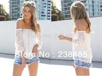 Free shipping European and American lace blouse hollow yarn blusa shorts women blouses three Quarter Chiffon dress Girl Clothes