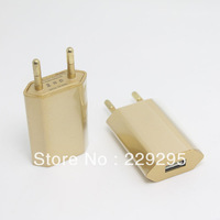 1pcs EU Plug USB Power Home Wall Charger Adapter For iPod iPhone 3GS 4G 4S 5 5S Gold