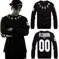 Fashion street hiphop o-neck Shirt long-sleeve men black  pullover sweatshirt black male spring 00 letter printed Hoodies