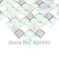 Glass Stone Mosaic Tile silver Metal Coating Crystal Glass Tile cream white Stone Wall Tiles iridescent Glass Mosaics HM0007