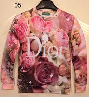 [Alice] beautiful rose  3d sweatshirts for women/men high quality 2014 fashion hoodies free shipping