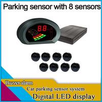freeshipping car parking sensor system,8 sensors,digital LED display,buzzer alarm,front sensors also work while breaking