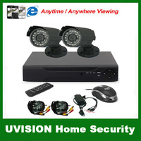 CCTV 4CH full D1 Surveillance System Security DVR with 4CH audio in  2PCS 700TVL Weatherproof CCTV Camera DVR kit free shipping