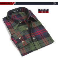 Fashion casual cotton thickening 100% sanded long-sleeve men's clothing plaid shirt male shirt