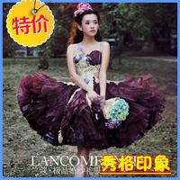 Theme wedding purple fluffy short skirt formal dress swithin wedding pl
