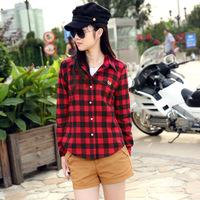 Autumn fashion 100% long-sleeve slim shirt cotton flannel female thickening sanded plaid shirt