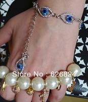 Free Shipping 2014 New Fashion Blue crystal Clear Pave Evil eye Lucky Charm Silver Bracelet FRIENDSHIP BRACELET Factory Price