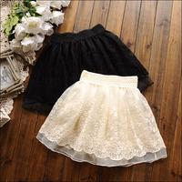 Hot!! Korean Sweet Embroidery Floral High Waist Lace Skirt Princess Pleated Skirt Girls Tutu Skirt Mini Dress Black Beige