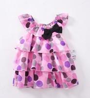 Baby girls floral polk dot chiffon sleeveless bow summer dress