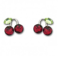 Austria crystal earrings accessories stud earring perforated cherry stud earring fruit series of the whole package