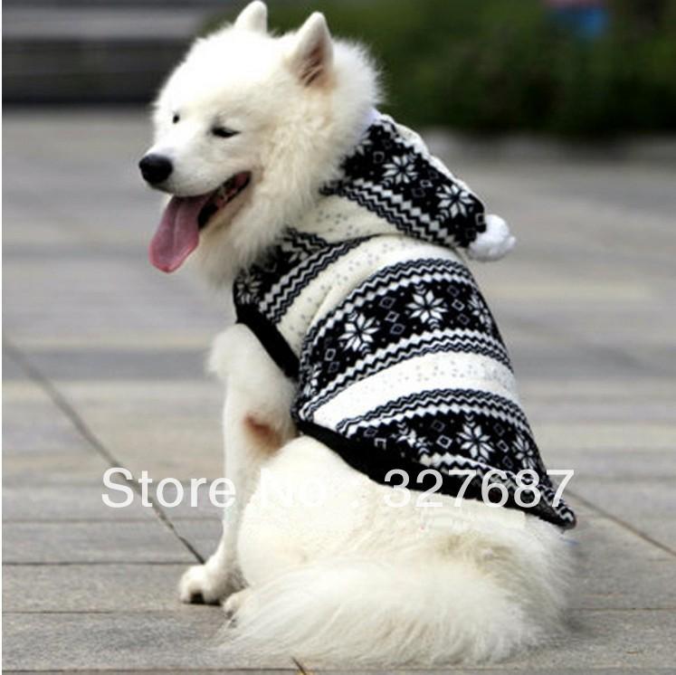 Wholesale Pet Product, Snowflake Winter Large Dog Clothes, Fleece Warn Pet Clothing Coat, Golden Retriever Samoyed Dog Jacket(China (Mainland))