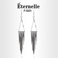 Eternelle design long tassel earrings female 925 pure silver drop earring banquet earring birthday gift