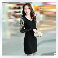 Vestido De Festa Special Offer New Natural Batik Ankle-length O-neck Dresses 2014 Spring Plus Size Lace Slim Elegant Basic Dress