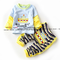 Male child baby set spring and autumn style clothing pullover t-shirt +trousers 100% cotton thin set