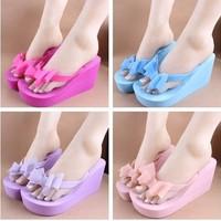 2014 New Arrival bow platform wedges heels designer flip flops beach slippers women sandals summer shoes
