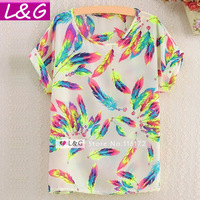 New 2014 Fashion Women Blouses Hot Selling Novel Print Feather/Stripe/Animal Shirts Loose Spring Blusas Chiffon Blouse 40025