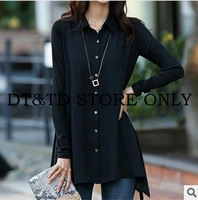 2014 New Fashion Women plus large Blouses Woman spring Shirt Chiffon Long Sleeve Shirts Tops A0137 3xl,4xl,5xl