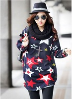 women's fashion spring and autumn long sleeve plus size t-shirt multicolour five-stars pattern printed o-neck tops free shipping