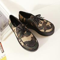 free shipping Fashion 2014 women's fashion casual shoes HARAJUKU Camouflage doodle platform shoes flat heel shoes women's