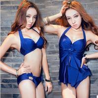 new 2014 sale 3 pcs plus size swimsuit push up vintage beach dress brand bathing suits high waist bikini  for women S- XXL  XXXL