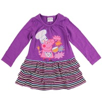 2014 fashion dress 100% cotton kids clothes girls  lovely peppa pig cooking  FREE SHIPPING