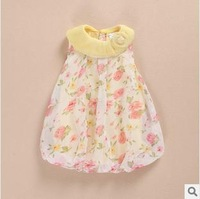 new summer 2014 infant dress baby girl chiffon dresses flower printed