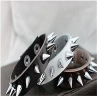 Free Shipping 2014 HOT Selling New Fashion Rock Punk Exaggerated  Sharp Sting Leather Bracelet Wholesale 24pcs/lot