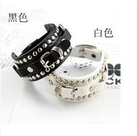 Free Shipping 2014 HOT Selling Korea Style Unisex Cool Punk Rivet  Atmospheric Bracelet Wholesale 24pcs/lot
